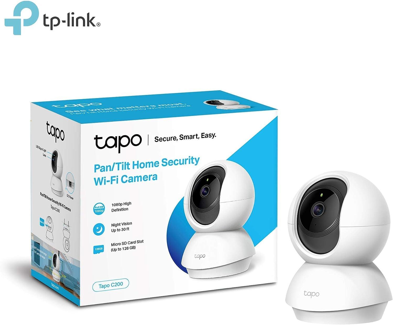 TP-Link - Cámara IP WiFi y webcam, admite tarjeta SD de hasta 128 GB, FHD 1080p con visión nocturna, cámara de mascota, detección de movimiento, audio de 2 vías, compatible con iOS/Android (Tapo C200)