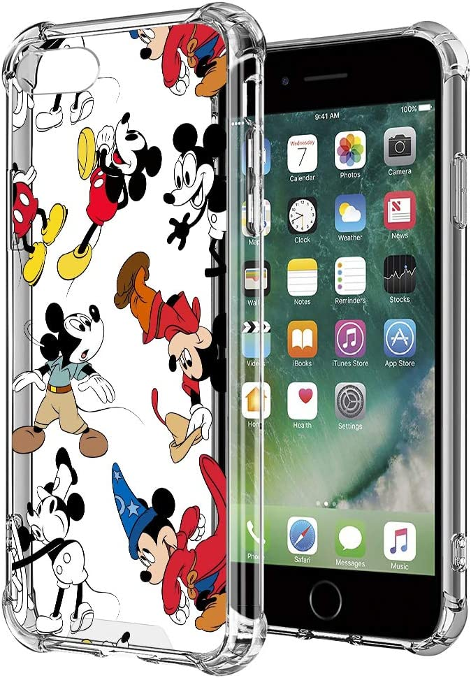 FHJGBNG iPhone 7/iPhone 8/iPhone SE Case Mickey Cute Cartoon Pattern Design Clear Soft TPU Edges Hard PC Back Wireless Charging Full Coverage Slim Phone Cover for iPhone 7/iPhone 8/iPhone SE 4.7 in