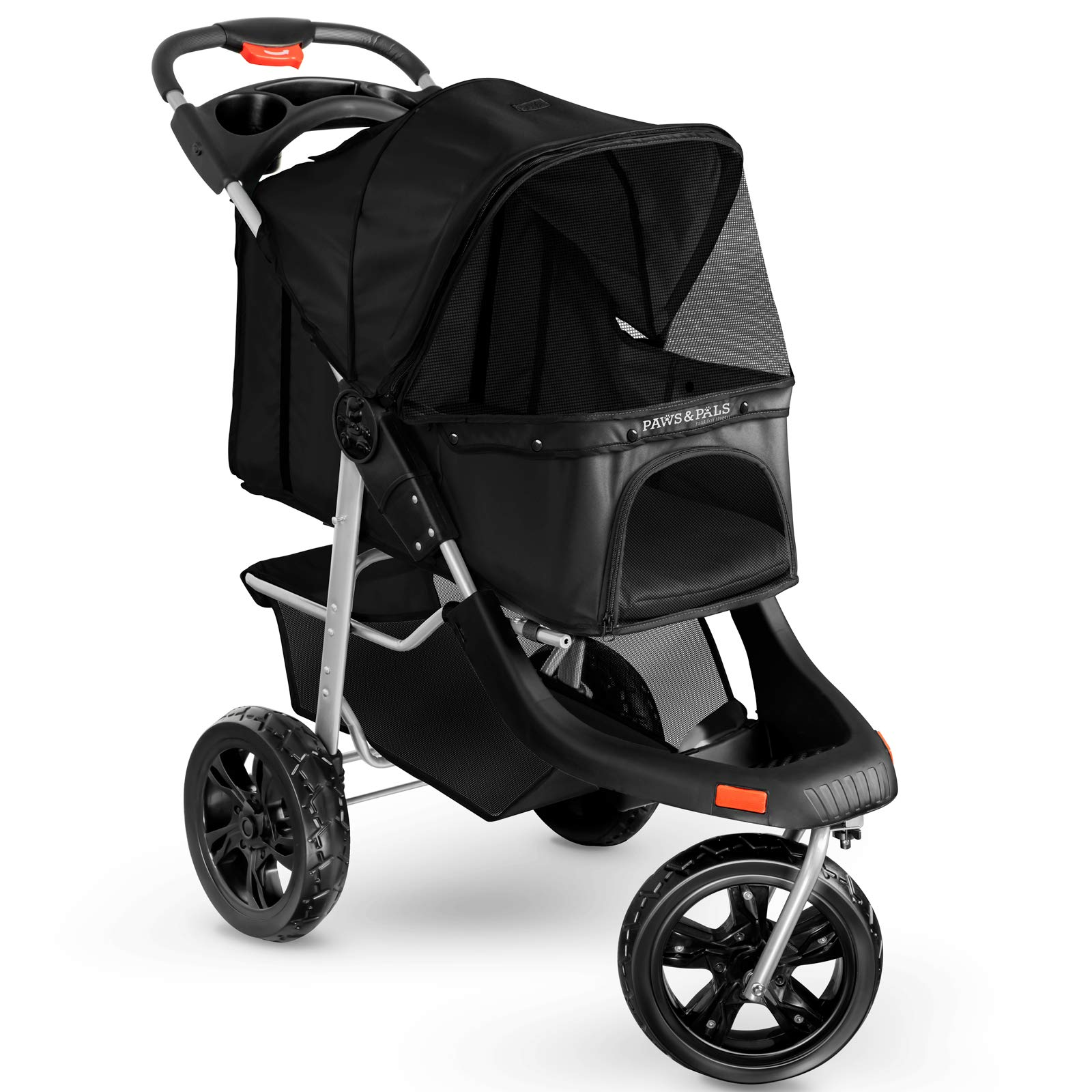 Paws & Pals Deluxe 3-Wheels Foldable Pet Stroller - Black by Paws & Pals