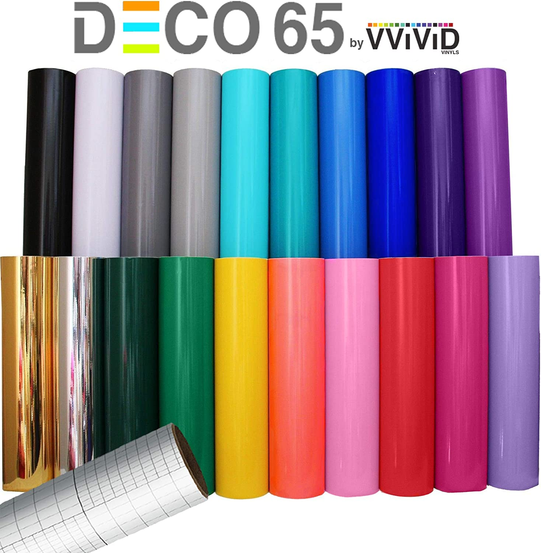 "VViViD Deco65 12"" x 5ft Multi-Color Adhesive Craft Vinyl Bundle Including 12"" x 24"" Transfer Paper Roll for Cricut, Silhouette & Cameo (6 roll Bundle)"