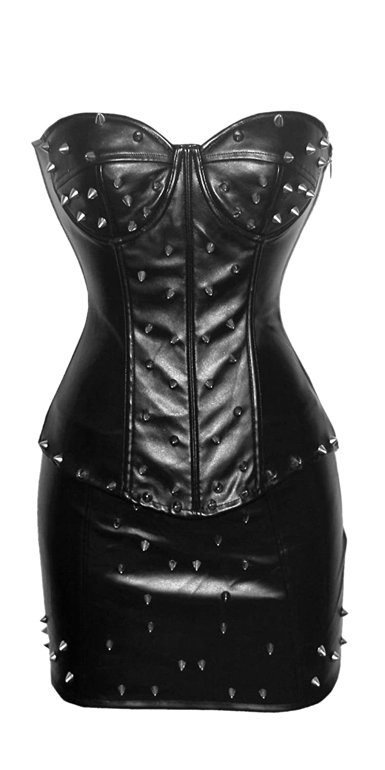 22aa6759ea75b JJ-GOGO Women s Steampunk Spiked Pad Leather Corset with Skirt Sets at  Amazon Women s Clothing store