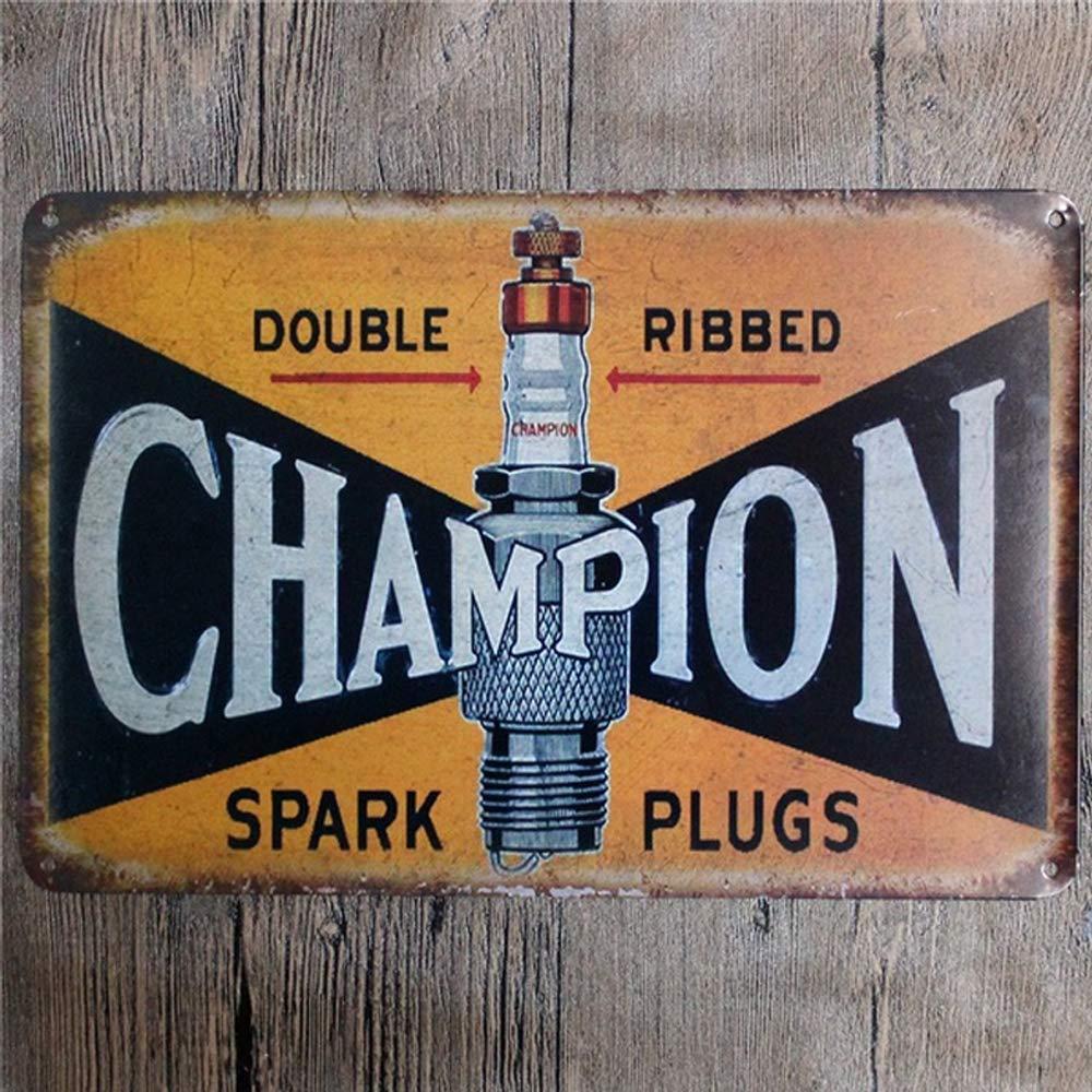 Vintage Retro Doble Acanalado buj/ías decoraci/ón de Pared Bar 20 x 30 cm, Metal Signo para Tienda hogar Letrero de hojalata Divertido Easy Painter Champion Sign caf/é