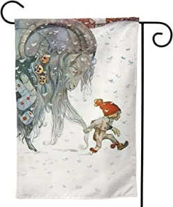 MINIOZE Christmas Yule Goat Snowflak Baby Party Themed Flag Welcome Outdoor Outside Decorations Ornament Picks Garden Yard Decor Double Sided 12.5X 18 Flag
