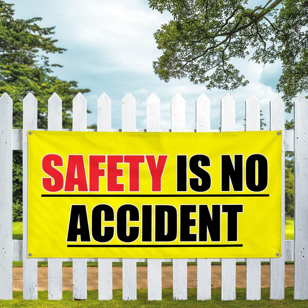 4ftx8ft 8 Grommets Safety Is No Accidents Outdoor Advertising Printing Vinyl Banner Sign With Grommets