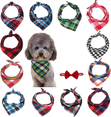 Bibs Dog Kerchief Set Triangle Dog Scarf Washable Reversible Plaid Printing Suitable for Small or Medium-Sized Cat and Dog Pets 12 Pieces Dog Bandanas