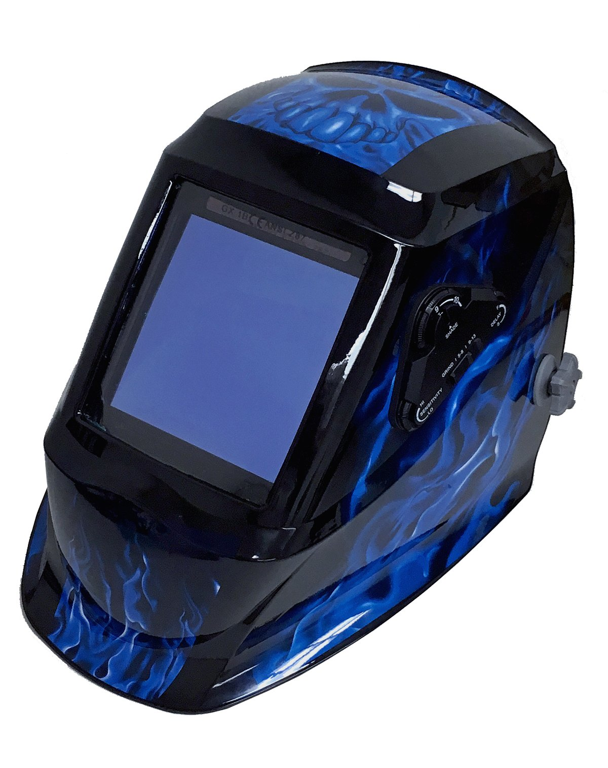 Instapark ADF Series GX990T Solar Powered Auto Darkening Welding Helmet with 4 Optical Sensors, 3.94'' X 3.86'' Viewing Area and Adjustable Shade Range #5 - #13 Bluish Devil by Instapark (Image #1)