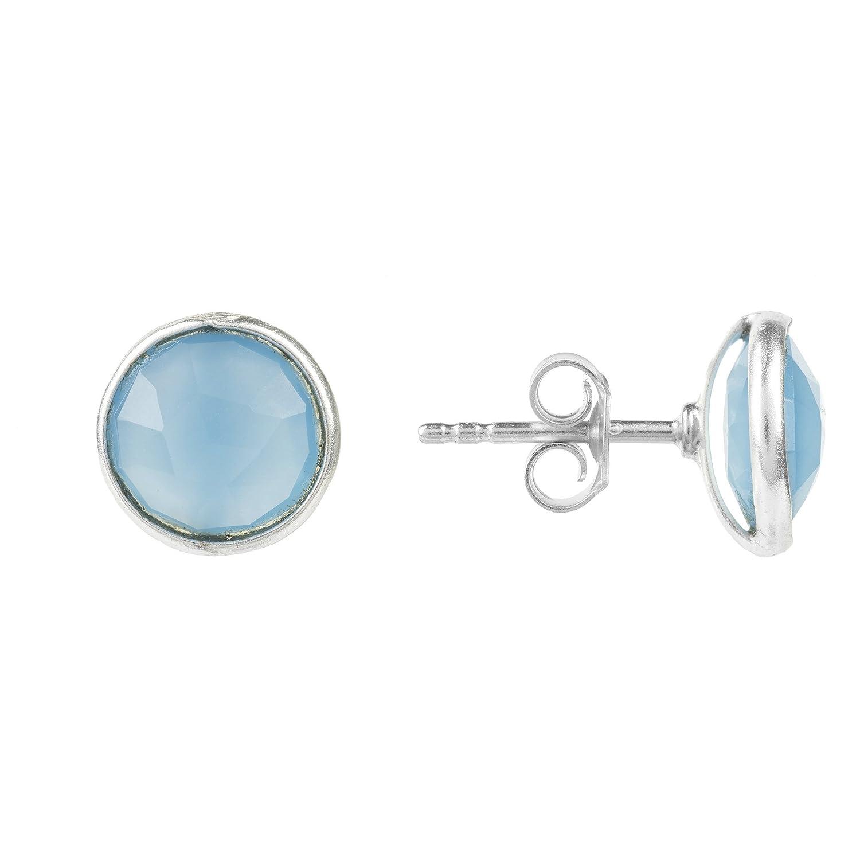 Latelita London Medium Circle Stud Silver Blue Chalcedony U0HhqCURow