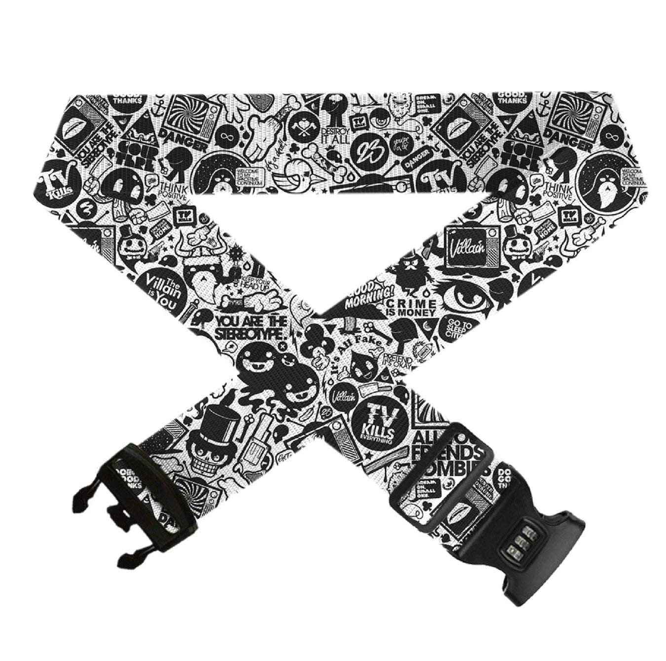 Retro Black Trippy Art 1 PC Durable Suitcase Straps TSA Approved Lock for Travel Bag Accessories Adjustable Travel Luggage Belts