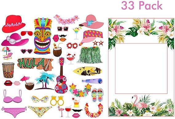 Amycute 33 PCS DIY Photo Booth Props, Apoyos de Fotos Fiesta Hawaiana Marco Photocall Accesorios Boda Party para el partido de la boda, Aniversario,compromiso, Accesorios para fiestas: Amazon.es: Hogar