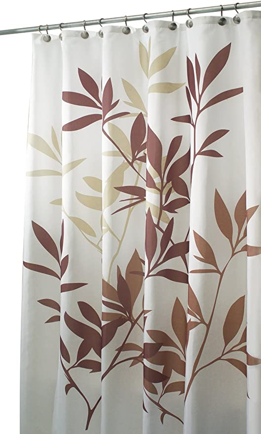 WholesalePlumbing Shower Curtain 72 X 84 Long Size Leaves Brown