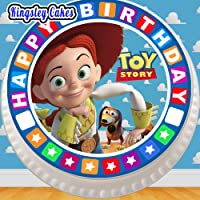 Cannellio Cakes Precut Edible Icing Large Cake Topper - 7.5 Inch Round Toy Story Jessie with Birthday Border