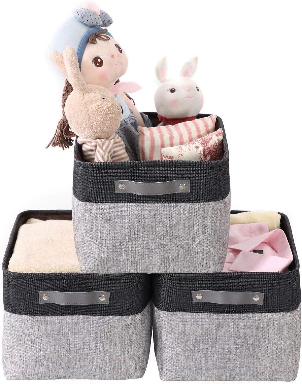 DECOMOMO Large Foldable Storage Bin [3-Pack] Collapsible Sturdy Cationic Fabric Storage Basket Cube W/Handles for Organizing Shelf Nursery Home Closet & Office - Grey & Black 15 x 11 x 9.5