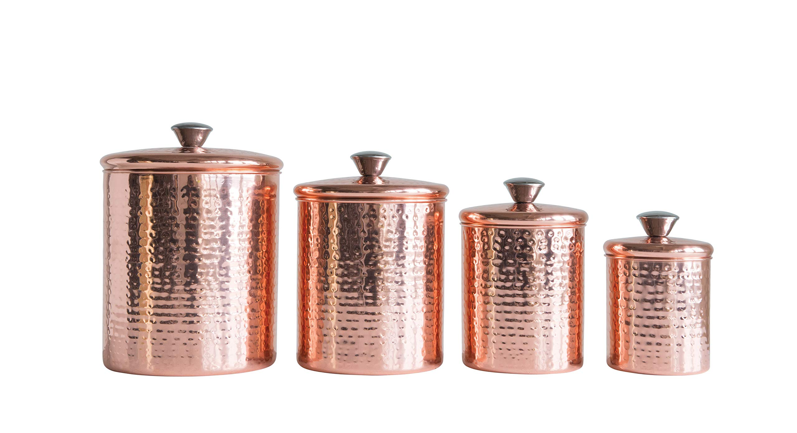 Creative Co-Op Hammered Stainless Steel Canisters with Lids in Copper Finish (Set of 4 Sizes)