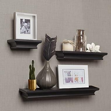AHDECOR Floating Shelves Black, Ledge Wall Shelf for Home Decor with 4  Deep, Set of 3 pcs