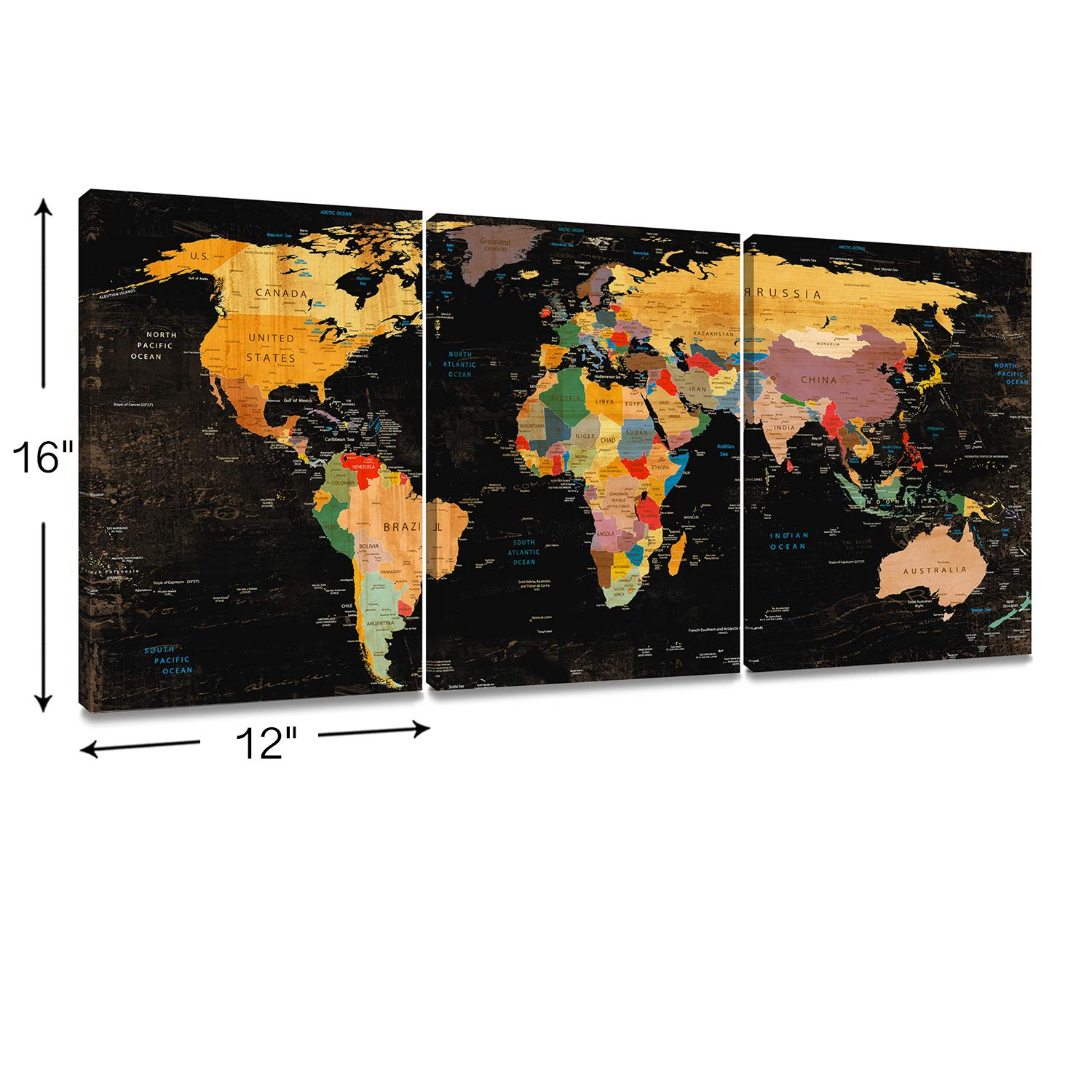 Colorful World Map Art.Decor Mi Colorful World Map Wall Art On Canvas Black Deco Prints