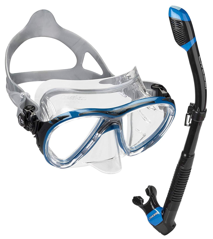Cressi Italian Made Big Eyes Evolution Scuba Snorkeling Dive Mask, with Premium Sry Top Snorkel Set, Black/Blue by Cressi