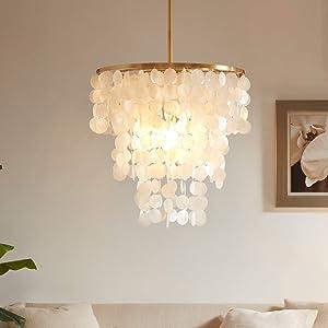 Aero Snail Capiz Seashell Chandelier, Modern Natural Ceiling Pendant Lamp 3 Lights for Living Room/Bed Room/Dining Room