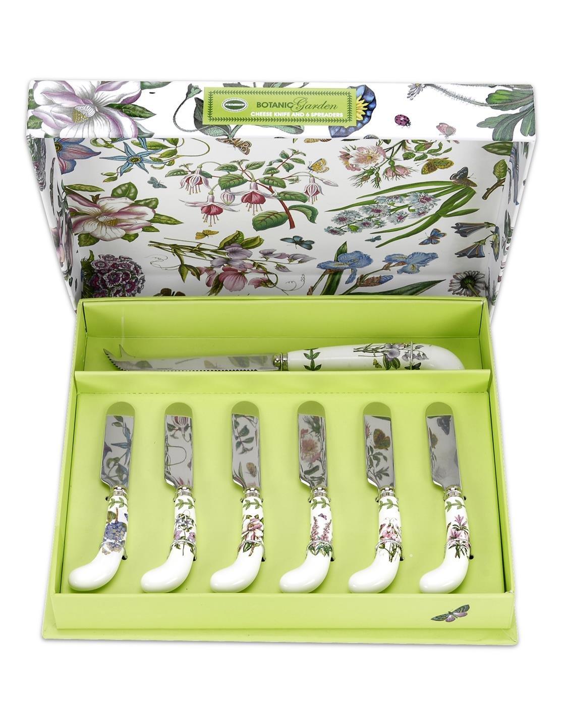 Portmeirion Botanic Garden Cheese Knife and 6 Spreader's by Portmeirion