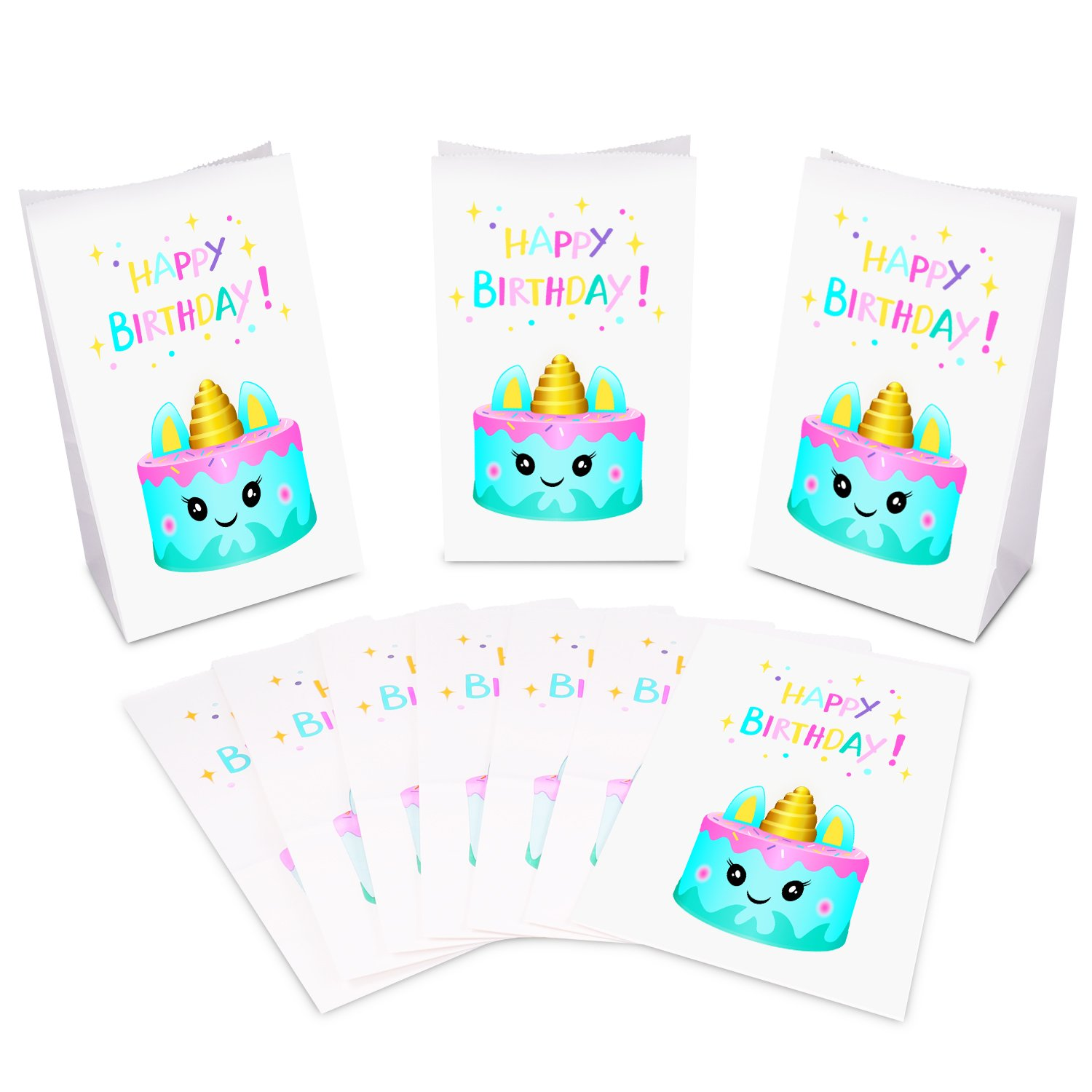 Squishy Toy Favors Treat bags Birthday Party Supplies for Kids Unicorn Themed Party Unicorn Cake Design,/Unicorn Paper Bags Devoltsom Unicorn Party Bags Pack of 24