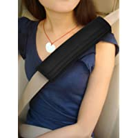 TRIXES Seatbelt Strap Cover - 2 Car Seat Belt Comfort Pads with Hook and Loop - Black Travel Cushion Seat Belt Covers