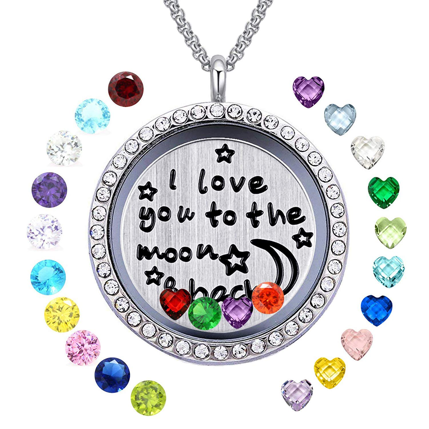 YOUFENG Floating Living Memory Locket Pendant Necklace Family Tree of Life Necklace All Birthstone Charms Include Moon Back 24 Birthstones CZ Locket