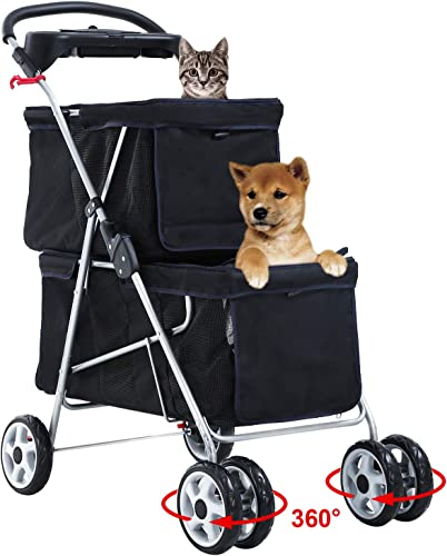 BestPet Pet Stroller Dog Cat Stroller Aluminum Frame Mesh Ventilation Travel Camping Folding Lightweight 4 Swivel Wheels Puppy Jogger Stroller Carrier Cart