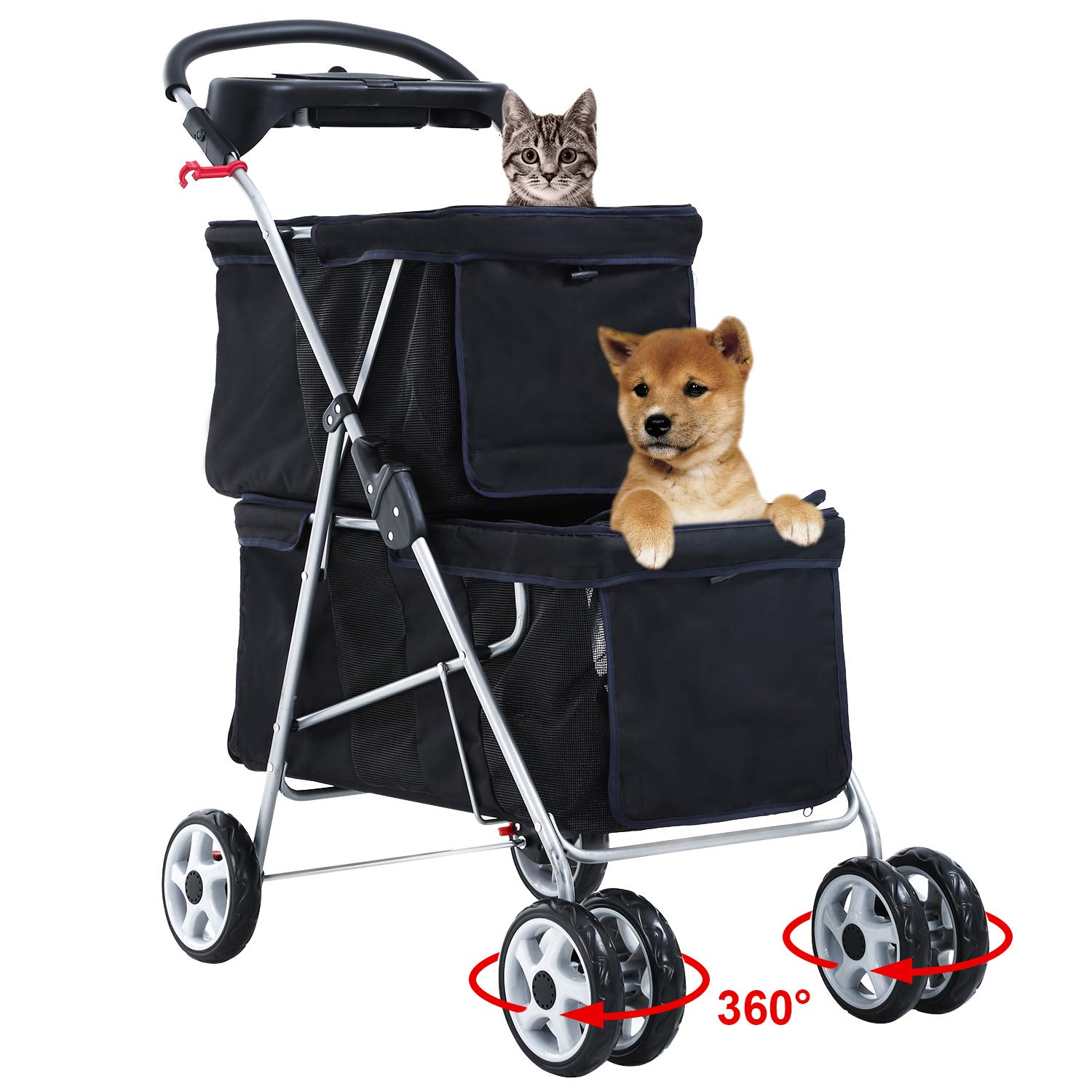 Pet Stroller Dog Cat Stroller Aluminum Frame Mesh Ventilation Travel Camping Folding Lightweight 4 Swivel Wheels Puppy Jogger Stroller Carrier Cart With Cup Holder,Black
