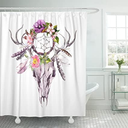 Emvency Shower Curtain Boho Deer Animal Skull With Dream Catcher Flowers And Feathers Watercolor In Grunge