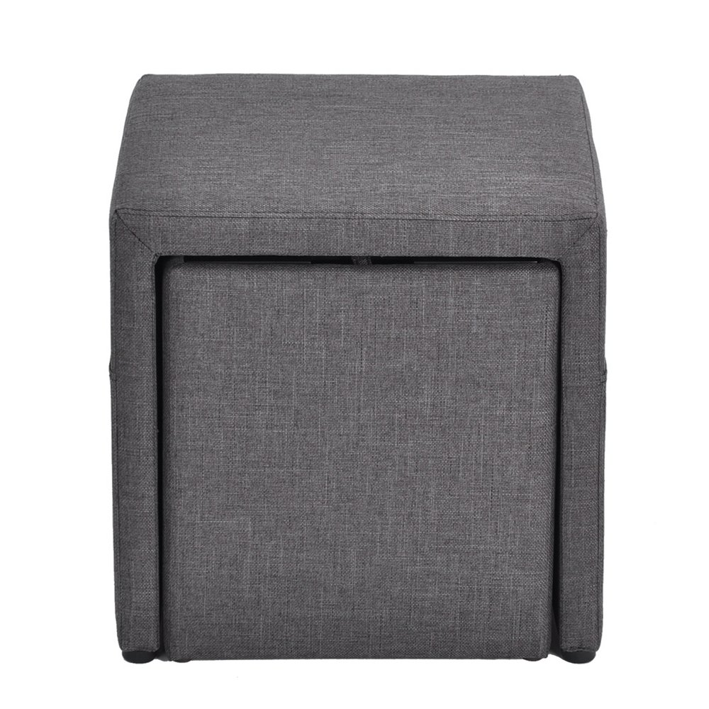 HOMY CASA 17'' Storage Ottoman w/Pull Out Drawer & Side Pocket - Gray Linen - Square Foot Rest Stool, Small Cube Table Ottomans by HOMY CASA (Image #4)