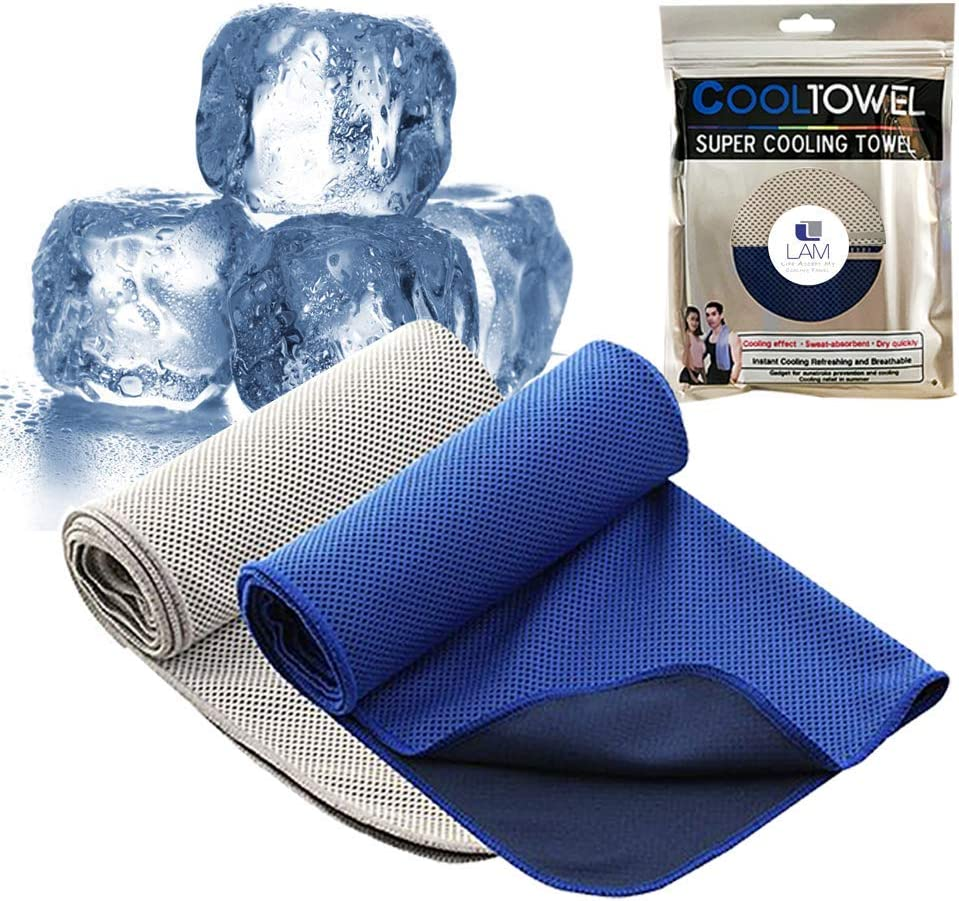 Cooling Towel 2 Pack Ice Towel, Cold Sports Towel, Chilly Workout Towel, Cooling Towel for Neck, Snap Cooling Towel for Sports, Instant Relief Neck, Microfiber Soft Breathable Gym Towel, Fitness, Yoga