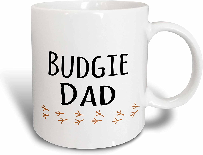 3dRose Budgie Dad-budgerigar pet owner-parakeet lover-text with bird footprints Mug, 15 oz, Ceramic