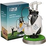 10L0L Mini desktop aluminum alloy golf bag pen holder with golf pens clock 6-piece set of golf souvenir event souvenir novelty gift