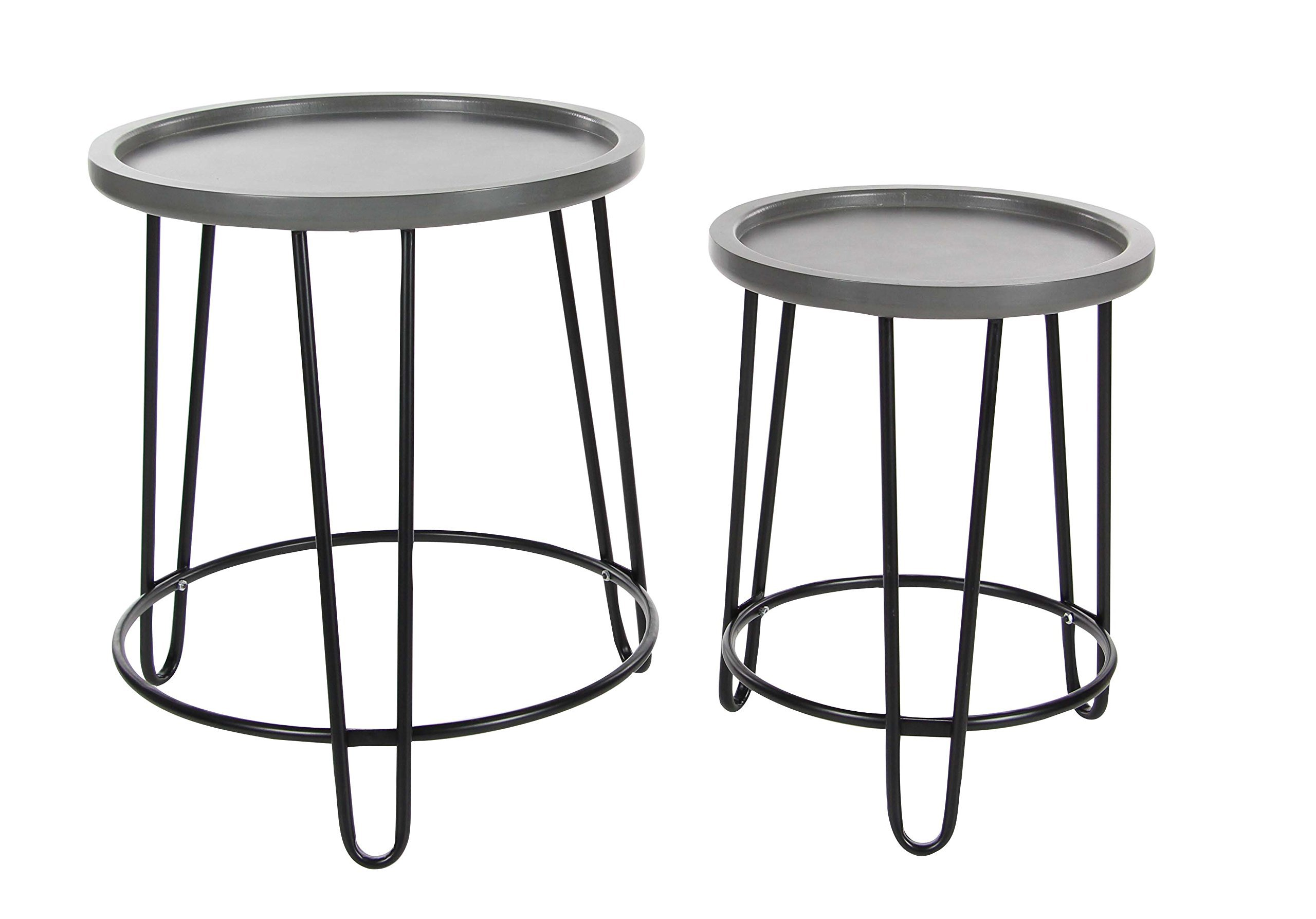Deco 79 60172 Metal and Wood Accent Table Set of 2, 19'' H, 22'' H, Gray/Black