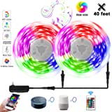 Led Light Strip 40 Feet WiFi, Upgraded 2020 Smart App Controlled 12M RGB Light Strip Alexa, Led Rope Light Sync to Music with 24 Keys Remote,Ruishine Led Tape Lights Work with Google Home for Bedroom