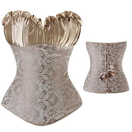 UK Plus size women corset bustier top lace up waist training Cincher black S-6XL