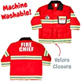 Born Toys Fireman Costume Coat Includes Badge and Firefighter Name TAG for Kids Role Play and Dress up Clothes