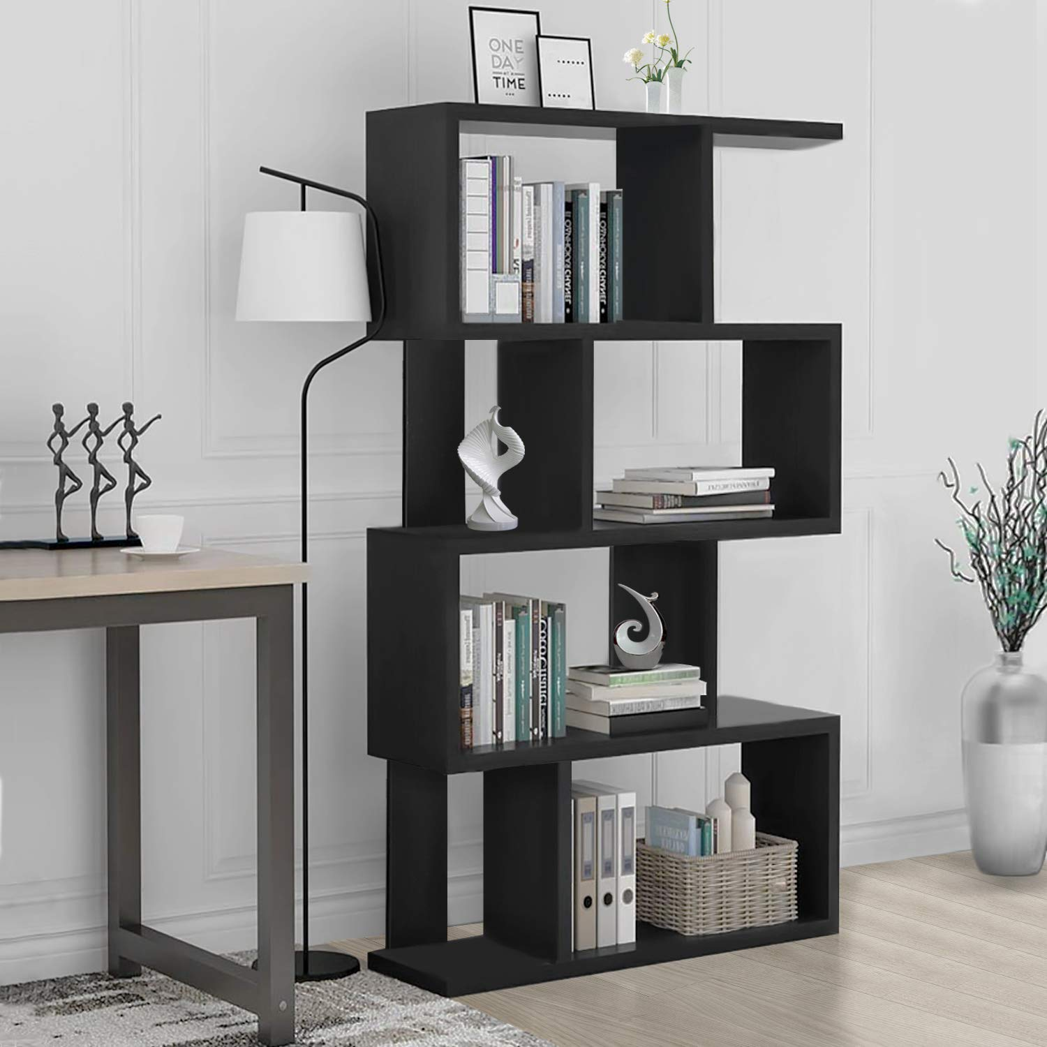 S Shaped Bookcase Z-Shelf Style Bookcase Asymmetrical Snaking Bookcase  Storage Display Modern Industrial  Bookshelf