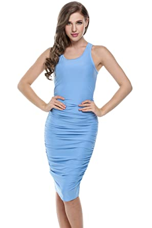 9c3102a3e Light Blue Ruched Bodycon Tank Dress Sleeveless Solid Draped Midi Party  Cocktail Pencil Dress,S