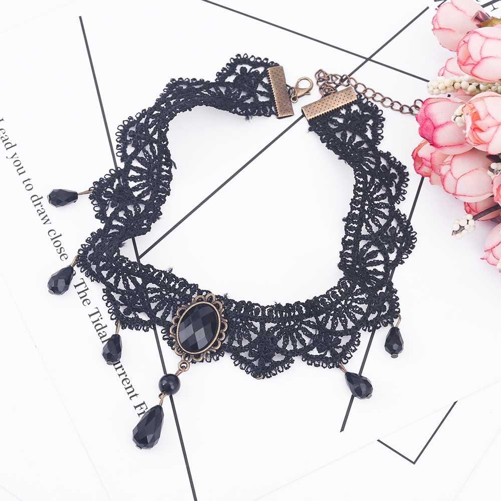 Velvet Black Choker Statement Necklace /& Pendant