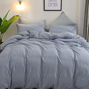 VCVCOO 3 Pieces Washed Cotton Duvet Cover Set King Size, Home Striped Pattern 100% Cotton Bedding with Zipper Closure Navy Blue ( King Size Duvet Cover 104