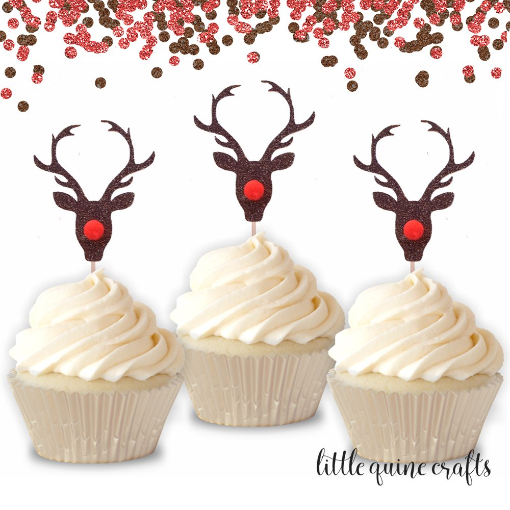 12 pcs Reindeer Red Nose Pompom Cupcake Topper Gold Brown Glitter for Birthday Christmas Party