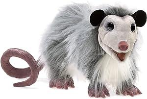 Folkmanis Opossum Hand Puppet, Gray, Black, Brown, 1 EA