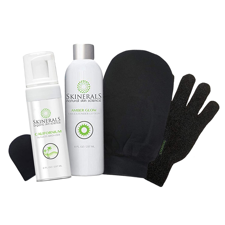 Skinerals Premium Self Tanning Set with Natural & Organic Ingredients, Californium Sunless Bronzer, Amber Glow Tan Extender Lotion, Tanning Mitt & Exfoliator Glove Set