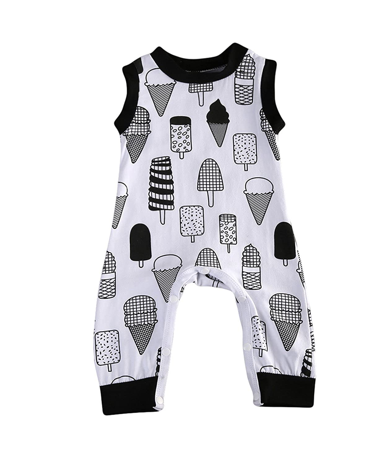 Baby Boys Girls Ice Cream Cake Romper Bodysuit Pajamas Sleeper Coveralls Outfit