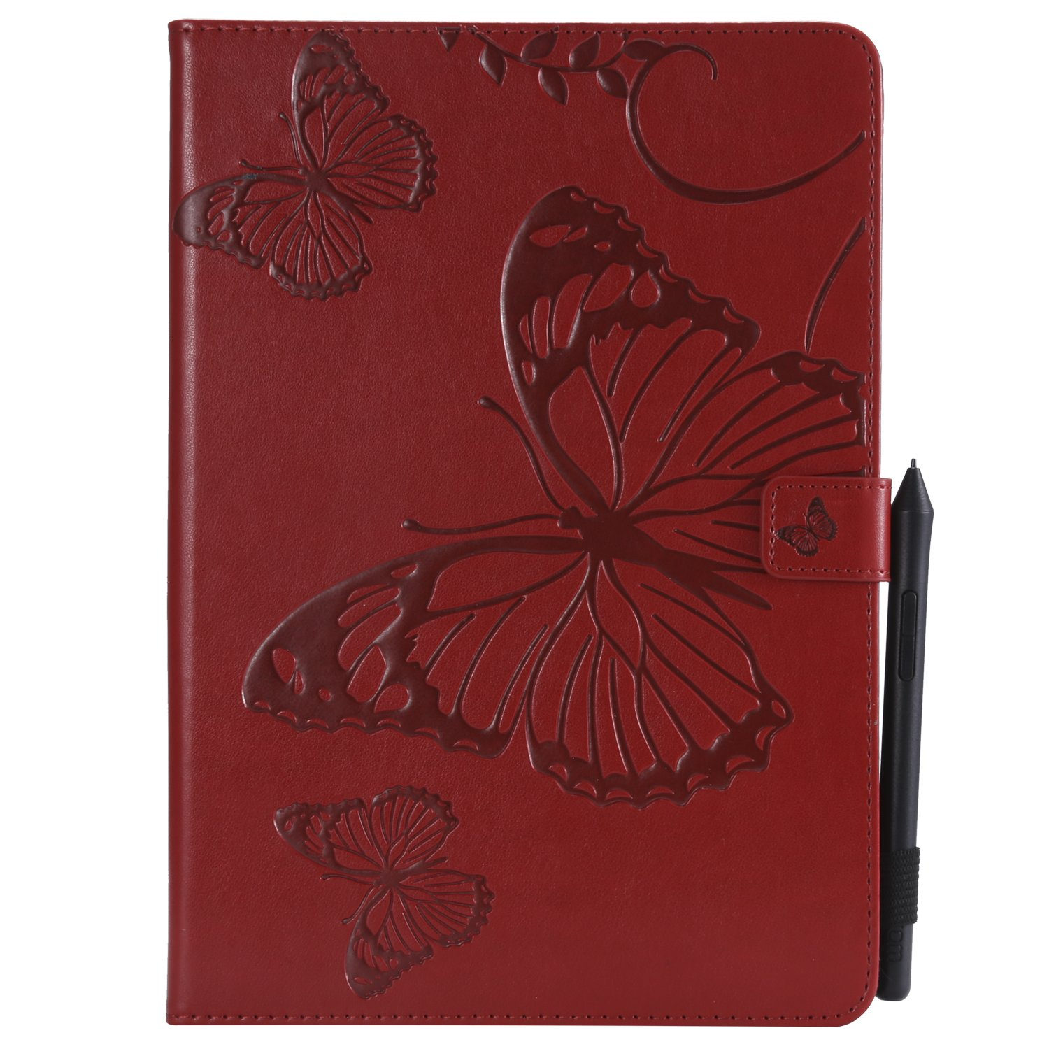 Shinyzone Tablet Leather Case for iPad Pro 10.5 inch, Embossed Red Butterfly Pattern with Credit Card Slots and Pencil Holder, Auto Sleep and Wake Function Magnetic Flip Stand Cover