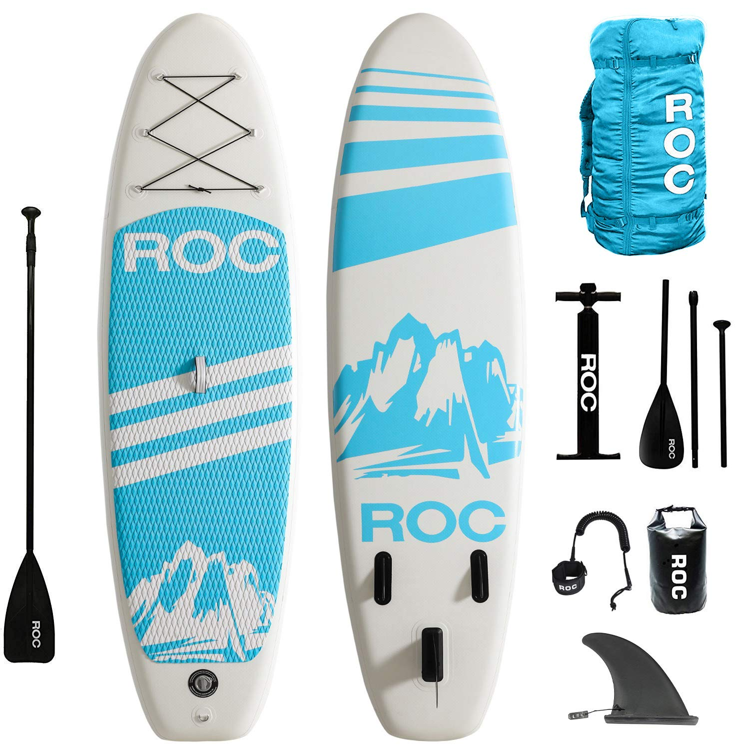 Roc Inflatable Stand Up Paddle Boards W Free Premium SUP Accessories & Backpack { Non-Slip Deck } Bonus Waterproof Bag, Leash, Paddle and Hand Pump !!! Youth & Adult (Blue) by Roc