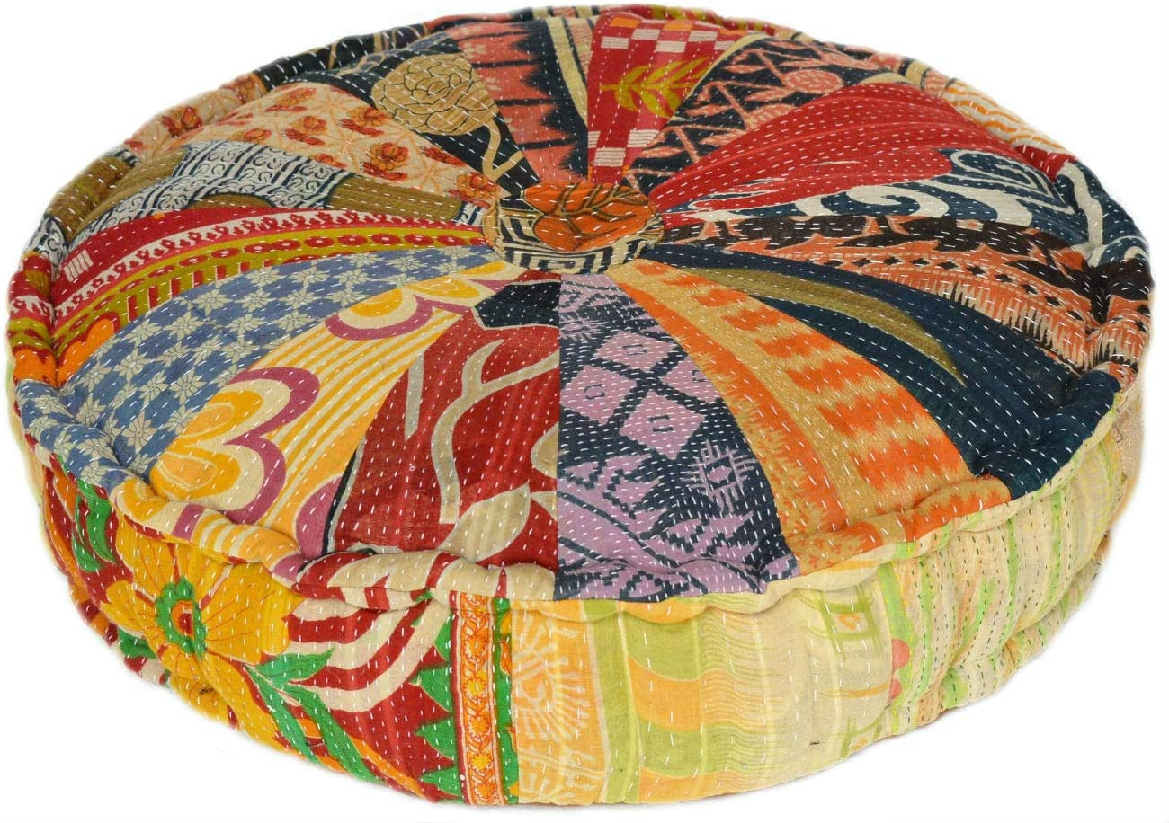 MARUDHARA RANGILA Stuffed Indian Vintage Kantha Pizza Patch Floor Cushion; Pouf Ottoman; Round Pouf