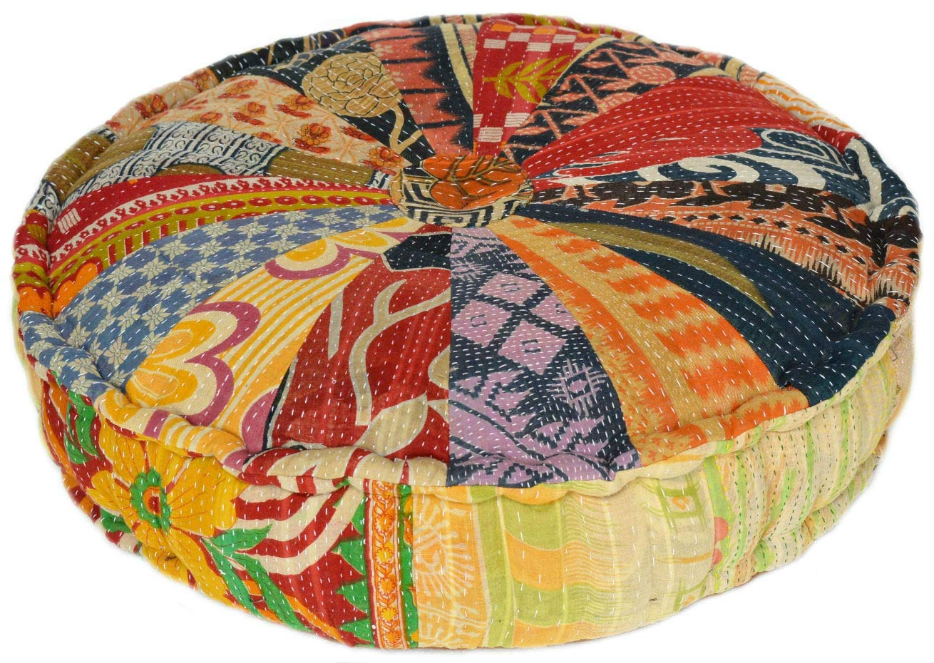 MARUDHARA RANGILA Stuffed Indian Vintage Kantha Pizza Patch Floor Cushion; Pouf Ottoman; Round Pouf