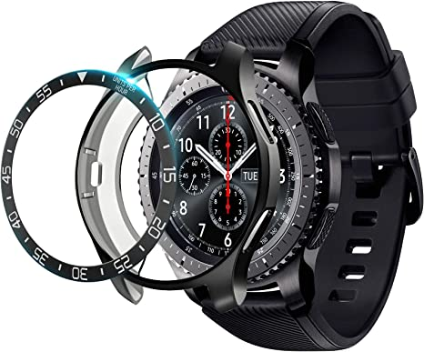 Galaxy watch 46mm/Gear S3 Frontier & Classic Bezel Ring Styling, Adhesive Cover Anti Scratch & Collision Protector Bezel Loop+Protector Case for Galaxy Watch 46mm Watch Accessories (2 packs)