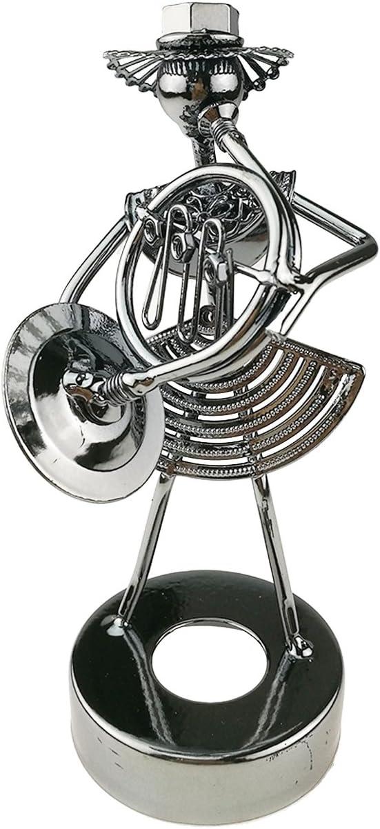 Creative Metal tuercas músico escultura figura decorativa de metal Figura de colección arte hecho a mano decoración de escritorio, hierro, Horn C027
